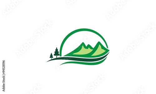 mountain hill pine tree logo stock image and royalty free vector