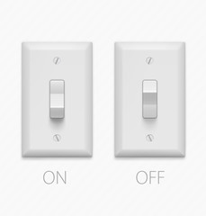 Light switch isolated on white background. Vector illustration