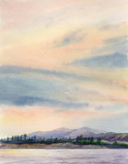 Watercolor painting. Landscape with hills, river and colorful sky.