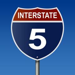Interstate five highway sign
