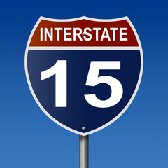 Sign for Interstate 15, part of the National Highway System, which travels from Alberta, Canada to California
