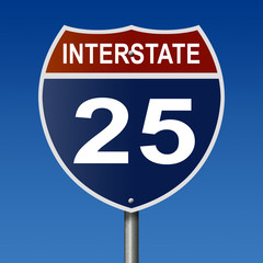 Sign for Interstate 25, part of the National Highway System, which travels from Wyoming to New Mexico