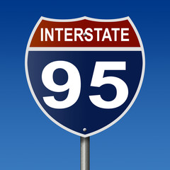 Sign for Interstate 95, part of the National Highway System, which travels from Florida to Maine