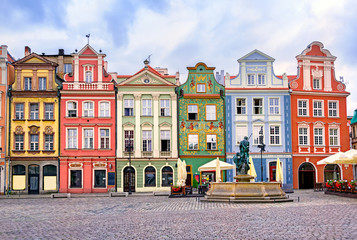 Colorful renaissance facades on the central market square in Poz Wall mural