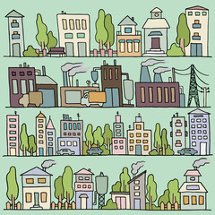 Sketch big city architecture with houses, factory, trees, cars. Panorama set of streets in a row. Hand-drawn vector colored illustration organized in groups for easy editing.