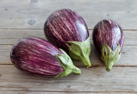 Fresh Raw striped eggplants