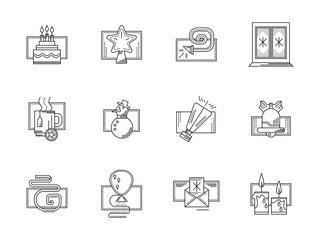 Winter holidays black line vector icons set