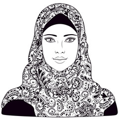 Muslim girl dressed in hijab.
