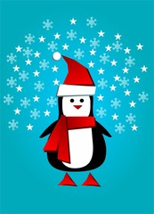 Greeting card with modern Santa penguin and winter background