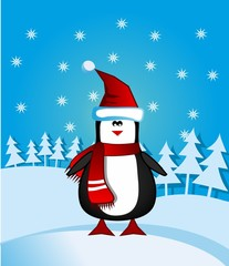 Greeting card with Santa penguin