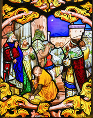 Stained Glass depicting the Three Kings in Tours Cathedral