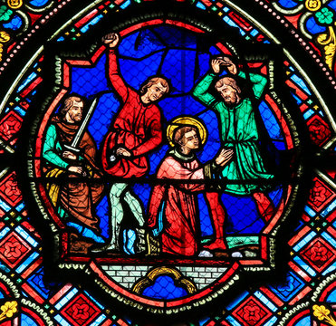 Stained glass window in Tours Cathedral