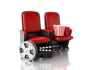 3d Film reel, popcorn and Cinema clapper board on theater seat.