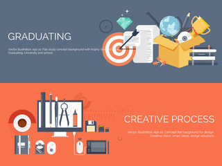 Vector illustration. Flat study backgrounds set. Education and