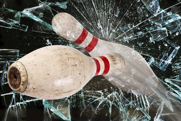 Bowling Pins Breaking Glass.