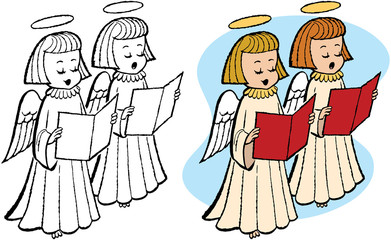 Caroling Christmas angels