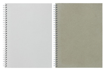 gray and white spiral notebook isolated on white