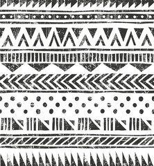 Vector seamless tribal texture. Primitive geometric background in grunge style.