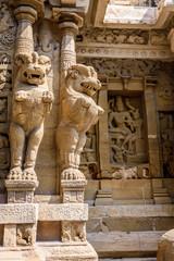 India, lion goddess statues in Hindu temple Kanchipuram