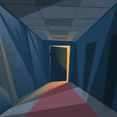 Dark Office Room Light From Doors Corridor Hallway
