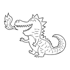 line drawing cartoon  fire breathing dragon