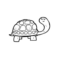 line drawing cartoon  happy tortoise