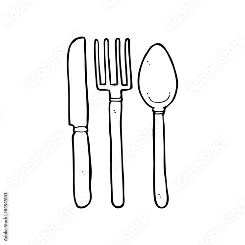 Line Drawing Knife And Fork : Quot line drawing cartoon knife fork spoon stock image and