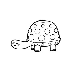 line drawing cartoon  tortoise