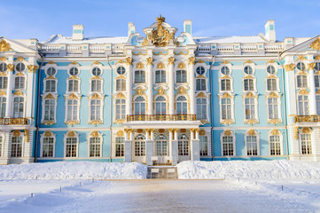 Catherine the Great Palace, Saint Petersburg, Tsarskoe Selo, tourism and travel, destination for tourists, historic building, town of Pushkin,   XVIII-XIX centuries, Hermitage winter.