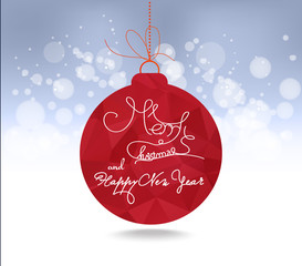 Christmas and happy new year red geometrical balls greeting card
