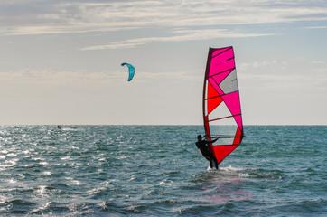 Windsurers at the beach