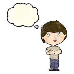 cartoon happy man with folded arm with thought bubble