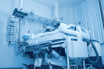 Modern bed of the patient in a clinical ward