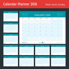 Monthly Calendar Planner for 2016 Year. Vector Design Print Template. Week Starts Sunday. Set of 12 Months