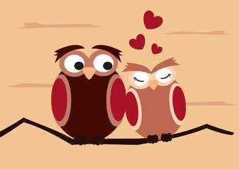 cartoon owls on branch funny and romantic valentine's day vector illustration