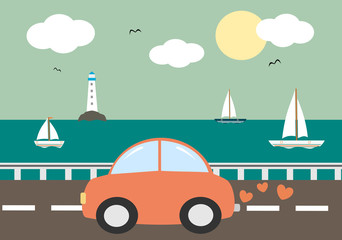 cute cartoon red car driving on sea background vector illustration