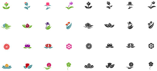 Silhouette fantasy logo flower lotus rose tulip sunflower daisy clover icon set, create by vector