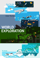 World exploration banner background badge about explorer traveling over the world from space sky, undersea, jungle ruin, to north pole arctic with sample text layout for website and brochure(vector)