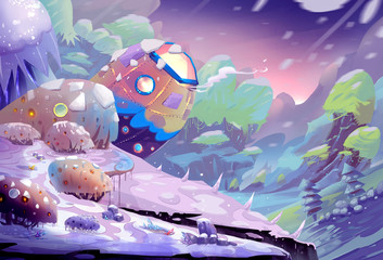 Illustration: The Odd Planet with Wind and Snow - Blizzard and wind storm are regulars on this planet. - Scene Design - Fantastic Style