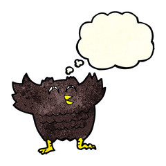 cartoon black bird with thought bubble