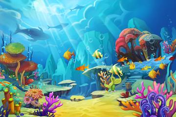 Estores personalizados con paisajes con tu foto Illustration: The mountain in the sea - Fish is like bird. - Scene Design - Fantastic Style
