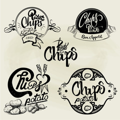 Vector set of potato chips labels, design elements. Isolated logo illustration in vintage style