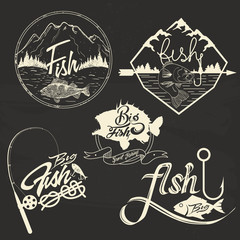 Vector set of fishing club labels, design elements, emblems, badges. Isolated logo illustration in vintage style