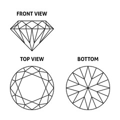 Diamond on three sides, vector illustration