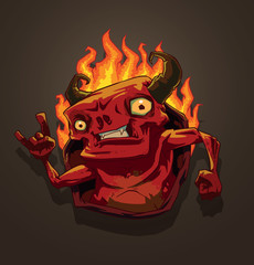 Vector Red Devil with fire. Cartoon image of a red devil with horns with tongues of flame behind his back on a brown background.