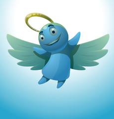 Vector сute little angel smiling. Cartoon image of a cute little blue angel with wings and golden halo over his head smiling on a light blue background.