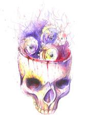 steampunk watercolor skull