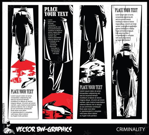 Black and white Vector banner. The killer leaves the scene of th