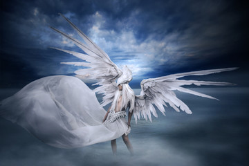 young girl with  big white wings, standing in the lake in landscape with dramatic sky and fog.