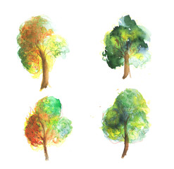 Watercolor trees collection